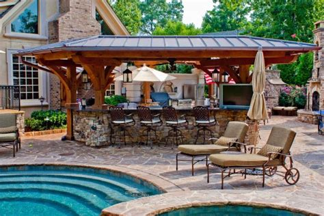 triyae backyard designs pool outdoor kitchen