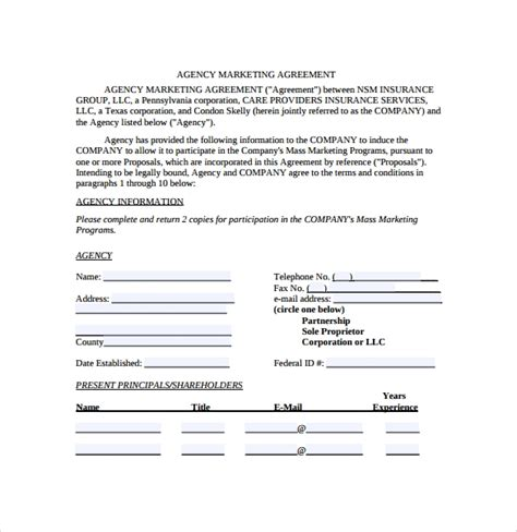 sample marketing agreement templates  google