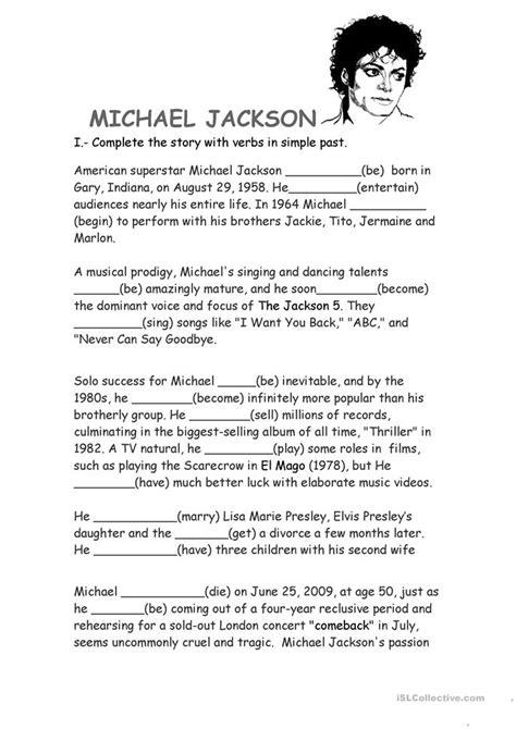 michael jackson biography worksheet  esl printable