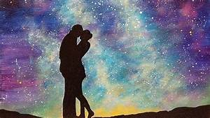 """Easy Galaxy Acrylic Painting """"Lovers under a Starry Night ..."""