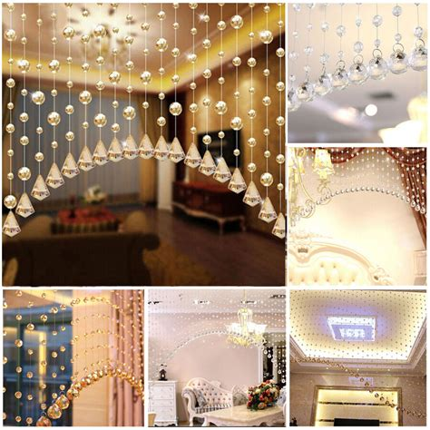 string curtain room divider crystal beads door window