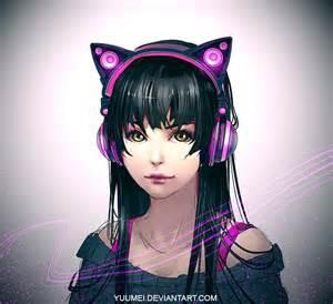 cat ear headphones yuumei axent wear by yuumei on deviantart