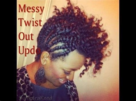 (20) Natural Hair ~ Messy Twist Out Updo   YouTube
