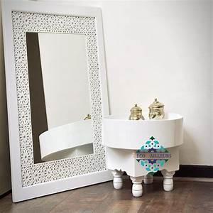 Décoration Murale Orientale : miroir oriental blanc en bois sculpt tanger d co d 39 ailleurs ~ Teatrodelosmanantiales.com Idées de Décoration