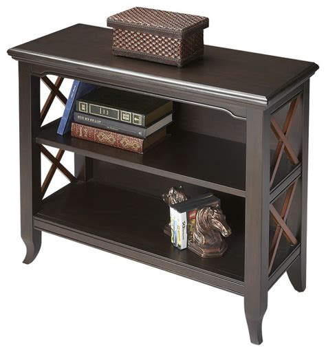 Low Black Bookcase by Newport Black And Cherry Low Bookcase Contemporary