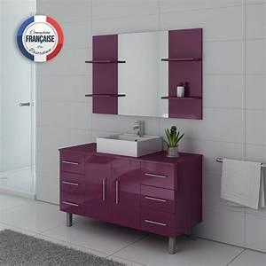 Meuble Vasque Sur Pied : meuble de salle de bain simple vasque 120 cm ensemble de salle de bain aubergine turin distribain ~ Teatrodelosmanantiales.com Idées de Décoration