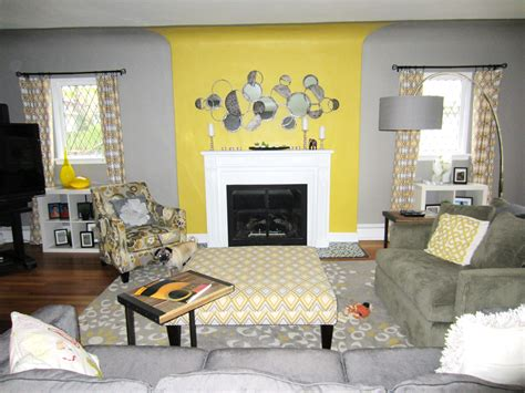 yellow  grey living roombeautiful interior design