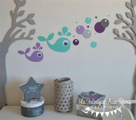 chambre bulles stickers baleine turquoise violet gris bulles décoration
