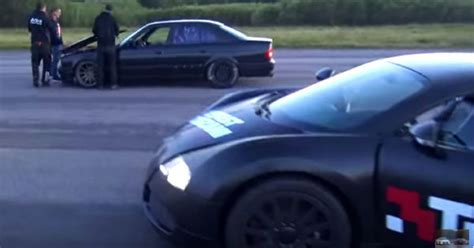 Bugatti Veyron Vs Bmw M5 Dragrace by Bmw M5 E34 With A Turbo Smokes A 1001hp Bugatti