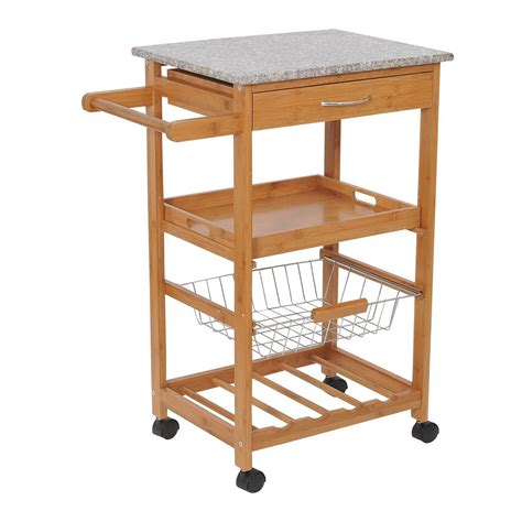 convenience boutique 31 quot rolling wooden kitchen trolley