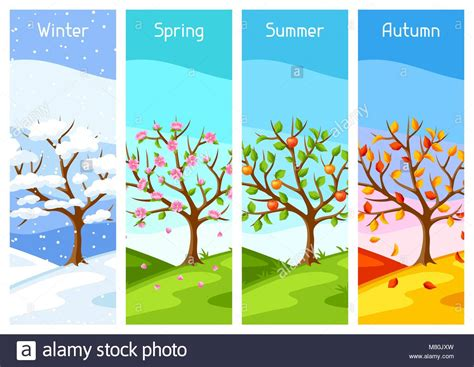 Four Seasons. Illustration Of Tree And Landscape In Winter