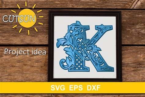 Download free 3d mandala svg files for cricut all svg file downloads also come bundled with dxf. 3D Alphabet Layered Mandala K - 3 layers SVG (523664 ...