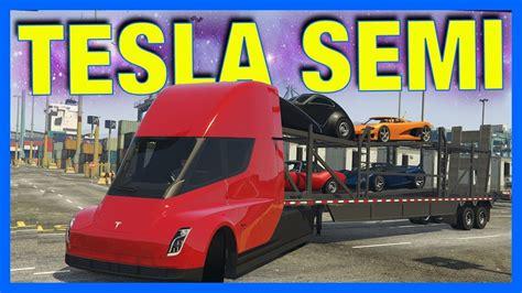 tesla semi truck delivery gta  mods youtube