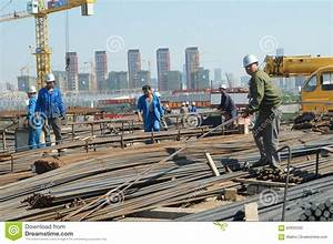 Shenzhen, China: Construction Workers In Handling Steel ...