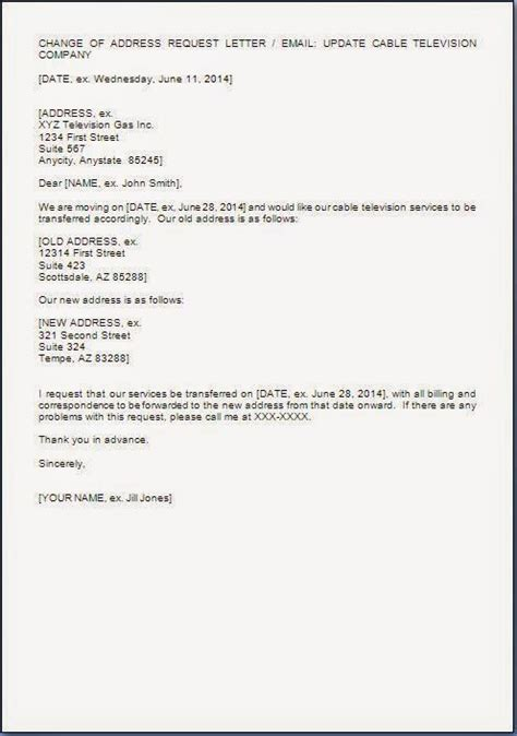 address chenge request letter format