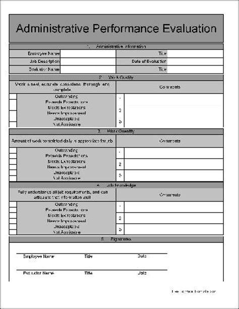 22480 employee evaluation form exle employee performance evaluation form sle