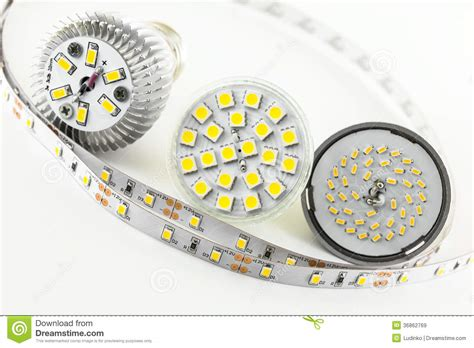 Four Different Types Of Smd Led Chips Stock Image