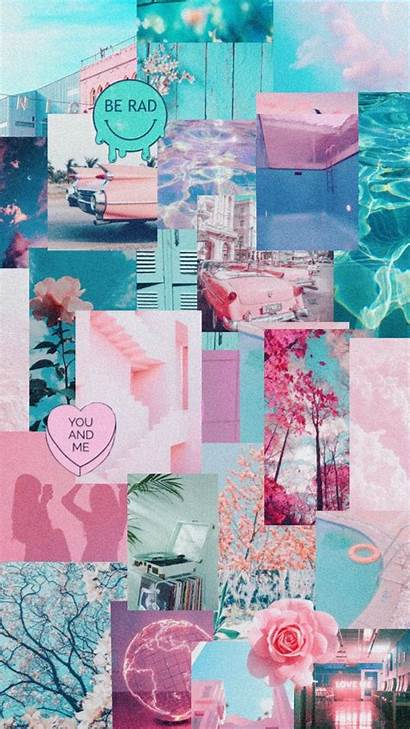 Aesthetic Pink Teal Pastel Collage Happy Pool