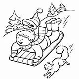 Sledding Coloring Winter Printable Down Slope Printables sketch template