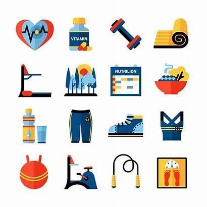 Fitness Icons Vector Flat Gym Yoga Illustration