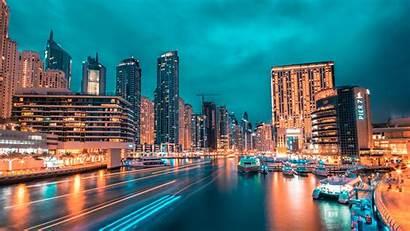 Night Port Lights 4k Background Skyscrapers Uhd
