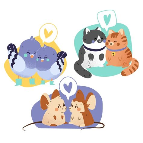 Free svg image & icon. Free Vector   Cute animal couples collection