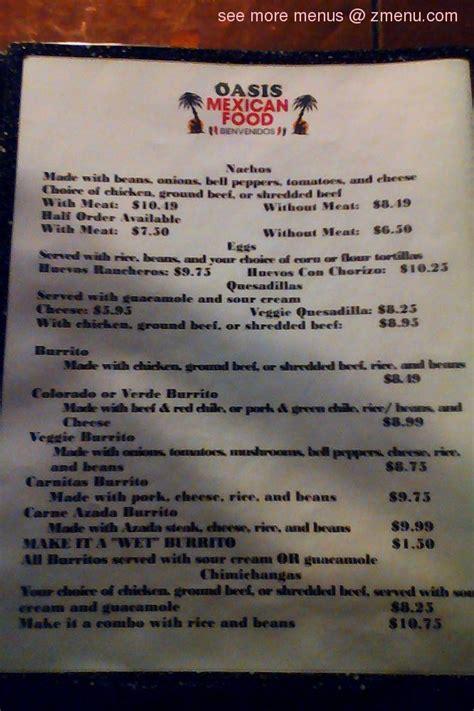 menu  oasis mexican food restaurant georgetown