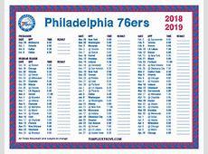 Printable 20182019 Philadelphia 76ers Schedule