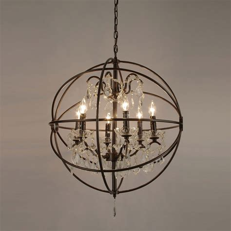 foucault s orb iron 6 light chandelier modern