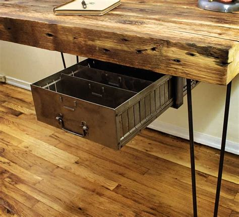 reclaimed wood desk retro drawer office reno