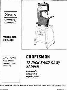 Craftsman 11324201 User Manual 12 Inch Band Saw Manuals