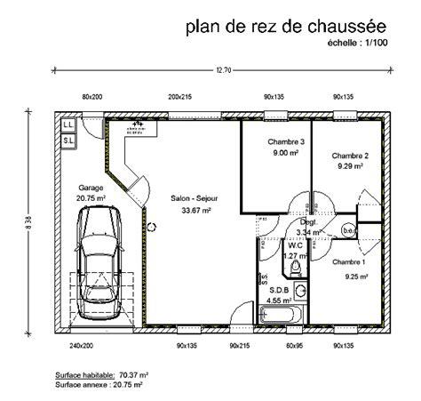 plan maison 3 chambres plain pied garage maison de plain pied rectangle 3 chambres cp06