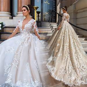 Gorgeous lace ball gown wedding dresses 2017 sexy v neck for Aliexpress wedding dresses 2017