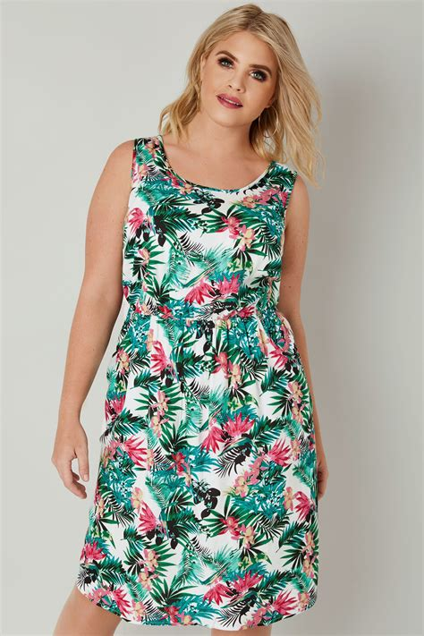 green multi tropical floral print pocket dress