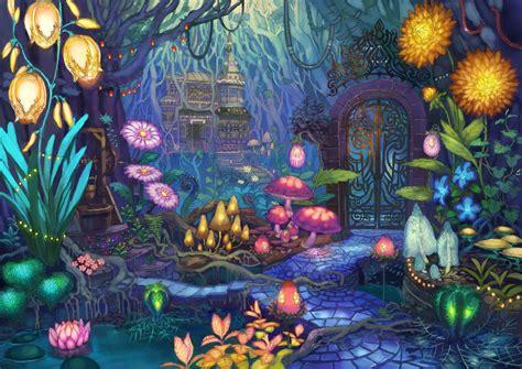 concept art cave  fluorecent flowers digimon salvation