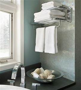 Steal this idea from your favorite hotel install a towel for Where to put towel bar in small bathroom