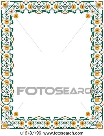 green  yellow floral victorian border clip art