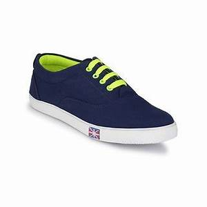 Groofer Men s Blue and Neon Green Casual shoes Buy