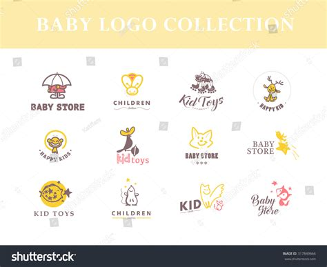 toy store sign template vector collection cute baby logochildren toys stock vector