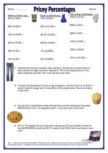shopping themed percentages  amounts worksheets