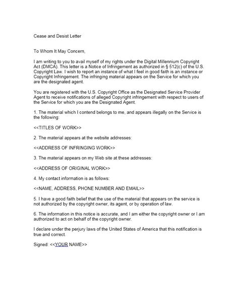 cease and desist letter 30 cease and desist letter templates free template lab