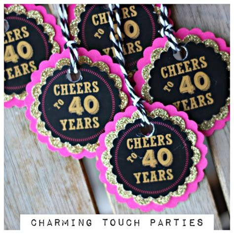 pink and gold 40th birthday decorations 40th birthday favor tags pink black gold