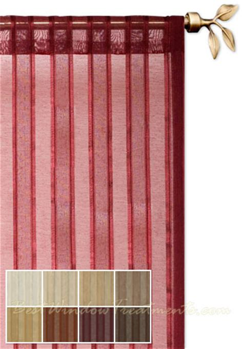 leno stripe sheer curtain panel available in 5 colors