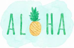 """""""Aloha Hawaii Pineapple Quote"""" Stickers by blueskywhimsy"""