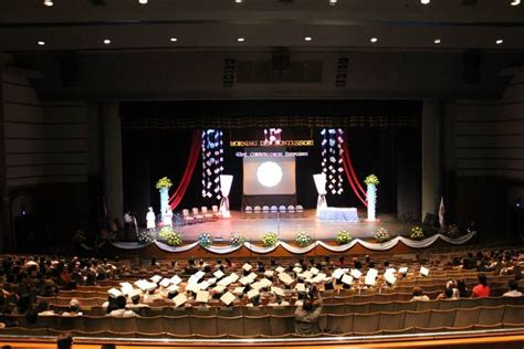 graduation stage design snowflakes chandelier stage