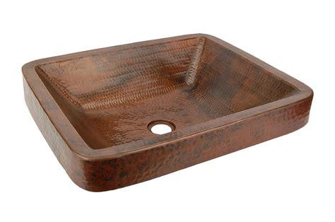 Rectangle Skirted Vessel Hammered Copper Sink-kitchen