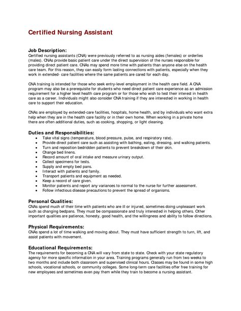 Free Resume Templates For Nursing Assistants by Sle Resume For Nursing Assistant Position Free