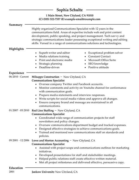 Communications Resume by Big Communications Specialist Exle Modern 2 Design