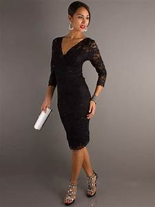 elegant black lace v neckline three quarter sleeves and With black wedding guest dress