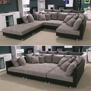 U Couch Mit Schlaffunktion : wohnlandschaft claudia ecksofa couch xxl sofa mit ottomane und hocker ebay ~ Bigdaddyawards.com Haus und Dekorationen